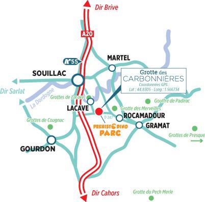 itinéraire-visite Grotte des Carbonnières à Lacave dans le Lot Quercy