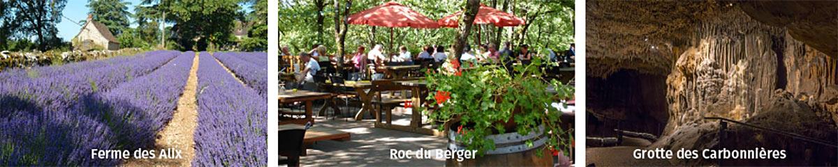 Visite guidée groupes adultes Grotte des Carbonnières. 3 activités à moins de 10 mn. La Ferme des Alix, Grotte des Carbonnières, l'Auberge du Roc du Berger